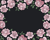 Horizontal frame made of hand drawn roses