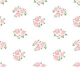 Light hand drawn rustic pattern with roses