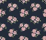 Hand drawn rustic pattern with roses
