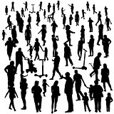Set of People. Children, Adults, Seniors. Vector Illustration.