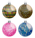 New Year and Christmas Balls Set Vector Illustration