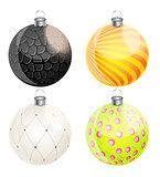 New Year and Christmas Balls Set Vector Illustration