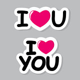 I Love You Sticker Vector Illustration