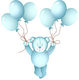 Baby boy teddy bear flying holding a balloons