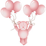 Baby girl teddy bear flying holding a balloons