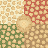Set of vector Christmas seamless pattern with gingerbread cookies
