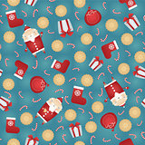 Vector seamless Christmas pattern background with Santa Claus, gift sack, gingerbread cookies, red sock, gift box and candy stick