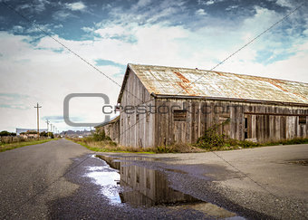 An Old Barn Panoramic Color Image
