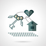 Key chain heart and house flat vector icon