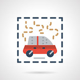 Burning car abstract flat vector icon