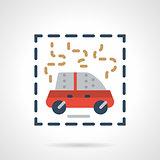 Burning car abstract flat vector icon