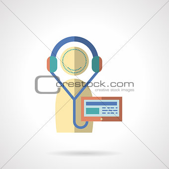 Flat color audio lessons vector icon