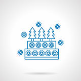 Decorative Xmas pie blue line vector icon