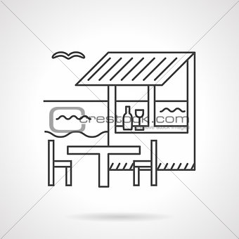 Beach bar flat line vector icon