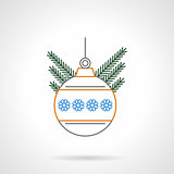 Christmas ball flat color line vector icon