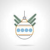 Christmas ball flat color line vector icon