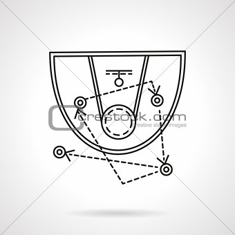Basketball tactic flat line vector icon