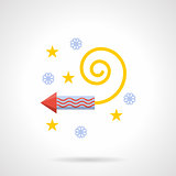 Fireworks rocket colorful flat vector icon