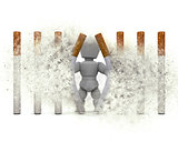 3D figure escaping a cigarette prison with explosion effect