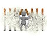 3D figure escaping a cigarette prison with explosion effect