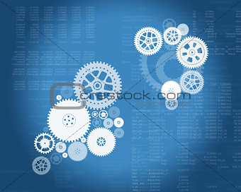 Abstract blue background with cogs and matrix
