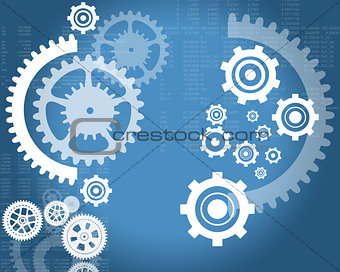 Abstract blue background with cogs