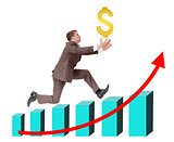Businessman running on graph with dollar sign