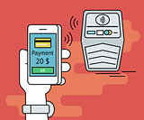 Illustration of mobile payment via smartphone nfc function