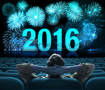 2016 new year fireworks on big cinema screen