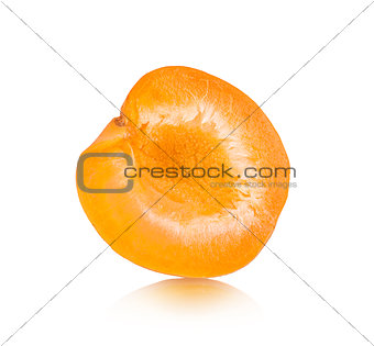 apricot halves on an isolated white background