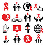 World AIDS Day icons set - red ribbon symbol