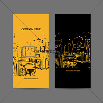 Abstract cafe interior silhouette. Business card design