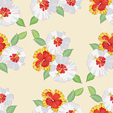 Seamless pattern with hibiscus-03