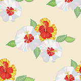 Seamless pattern with hibiscus-02