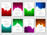 Set of brochures with geometric patterns in polygonal style. Vector illustration.
