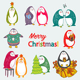 vector christmas postcard with cute penguins