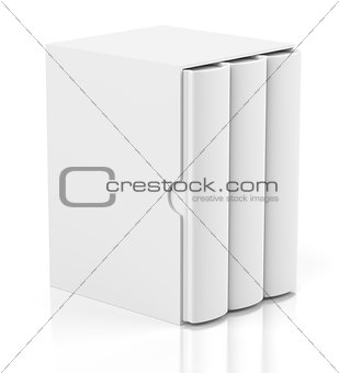 Three books in cardboard box cover on white