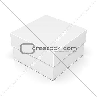 Closed paper square box on white