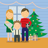 Happy family at Christmas, greeting card
