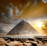 Pyramid under clouds
