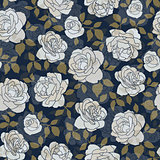 Seamless pattern made of hand drawn light roses on indigo background