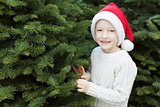 kid choosing christmas tree