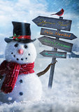 Snowman holding wooden sign with greetings