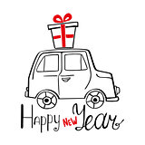 Happy New Year Card with hand drawn car and present
