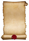 Old paper roll or manuscript with wax seal isolated