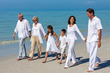 Mother, Father Granparents, Children Family Walking on Beach
