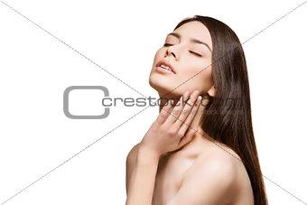Beautiful girl touching face