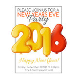 Invitation to New Year's party with balloons