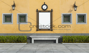 Old facade with street bilboard in classic style