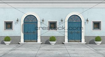 Blue old facade